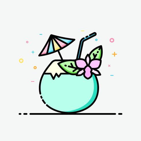 Kokosnotensap clipart kleurrijk in gevulde overzichtsstijl voor verfraaid in de zomeraffiche en sociale media banner.