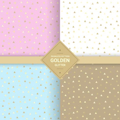 Modello senza cuciture di scintillio del triangolo d'oro su fondo pastello. Triangolo sfondo per confezioni regalo e modelli di tessuto. Illustrazione vettoriale