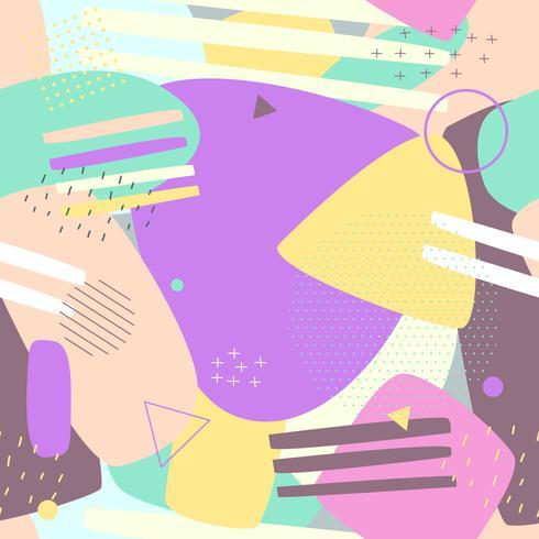 Modelli senza cuciture di Memphis. Abstract background pastello per la stampa e la progettazione di banner sito Web, carta da parati e stampa tessuto tessile. Illustrazione vettoriale