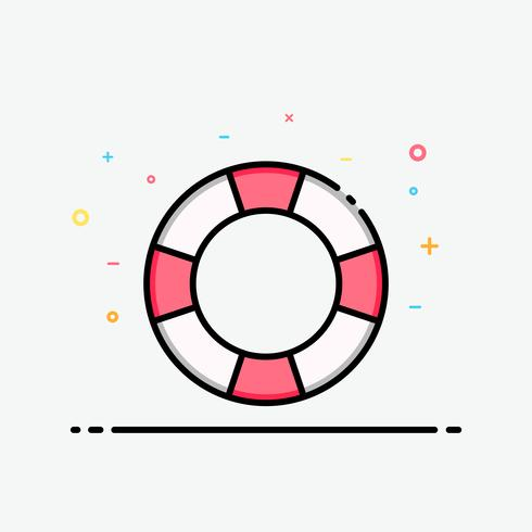 Life ring icon in filled outline style for decorated in summer template, travel poster and social media banner.