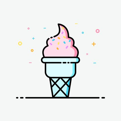 Ice cream cone strawberry icon in filled outline style for decorated in summer poster and social media banner.