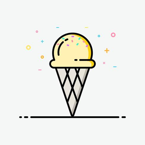 Icono de vainilla de cono de helado en estilo de contorno relleno para decorado en cartel de verano y banner de redes sociales.