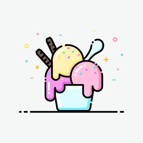 Sorvete ícone no estilo de linha plana. Cor pastel do copo da sundae do gelado para a bandeira social dos meios, o cartaz do verão e o projeto do ícone do app.