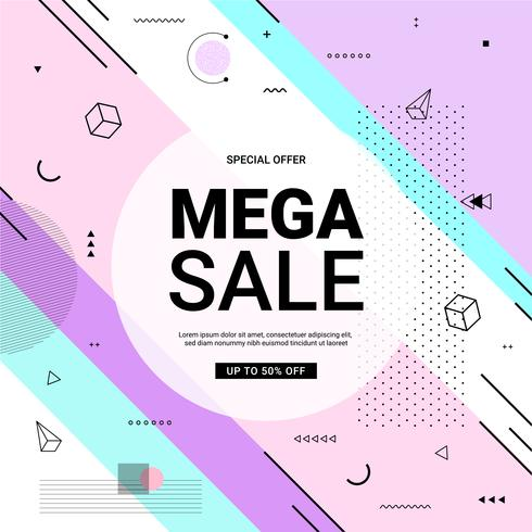 Sale banner Memphis style 80s-90s with geometric shapes. Sale background pastel color create by vector.