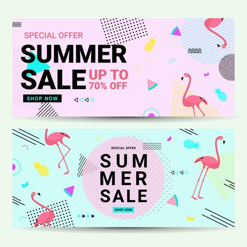 Summer sale banner Memphis style with flamingo and geometric shapes. Sale background template pink and blue color create by vector.
