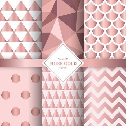 Padrões sem emenda de ouro rosa metálico. Fundo geométrico do ouro cor-de-rosa para testes padrões do envoltório e da tela de presente. Ilustração vetorial.
