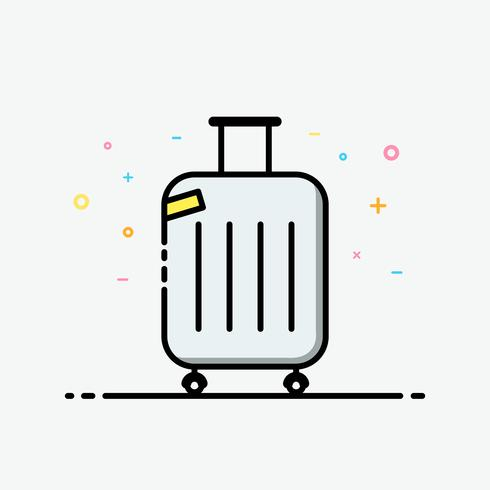 Suitcase icon vector. Travel bag in filled outline style for decorated in summer poster and social media banner.