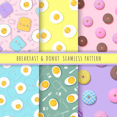 Breakfast and donuts pattern seamless collection. Set of 6 kawaii fried egg, bread and donuts background vector. Pastel food texture for gift wrap, wallpaper, wrapping paper and fabric patterns.