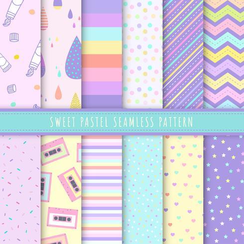 Süße nahtlose Pastellmuster-Sammlung. Satz von 12 buntem Hintergrund mit Tupfen, Streifen und einfachem Symbol. Kawaii-Mustervektor für Geschenkverpackung, Tapete, Packpapier und Gewebemuster.