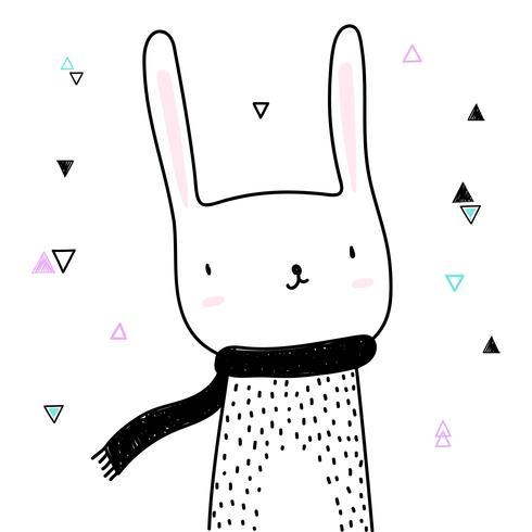 Caricature de lapin mignon isolé sur fond blanc pour la conception de bannière et de la carte de voeux. Illustration vectorielle