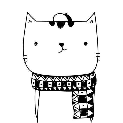 Caricature de chat mignon isolé sur fond blanc pour la conception de bannière et de la carte de voeux. Illustration vectorielle