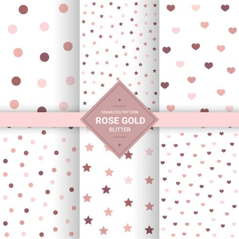 Rose gold glitter seamless pattern on pastel background. Polka dot background for Gift wrap and Fabric patterns. Vector Illustration