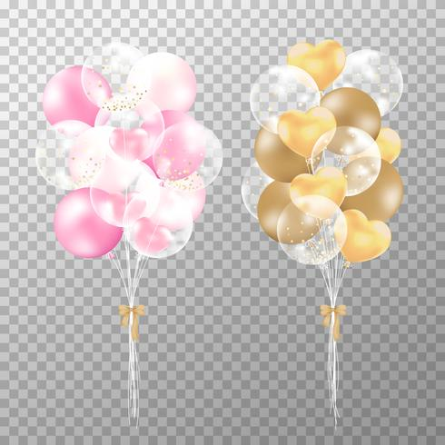Balloons on transparent background. Realistic glossy black, golden and white balloon vector illustration. Party balloons decorations wedding, birthday, celebration and anniversary.