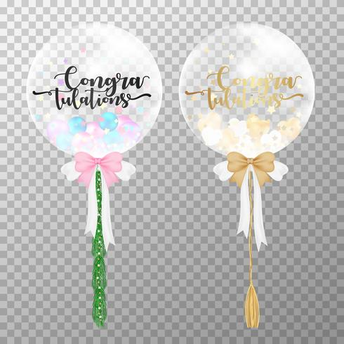 Congratulations  balloons on transparent background. Realistic transparent balloon pink and gold color vector illustration. For party balloons event design decoration design template.