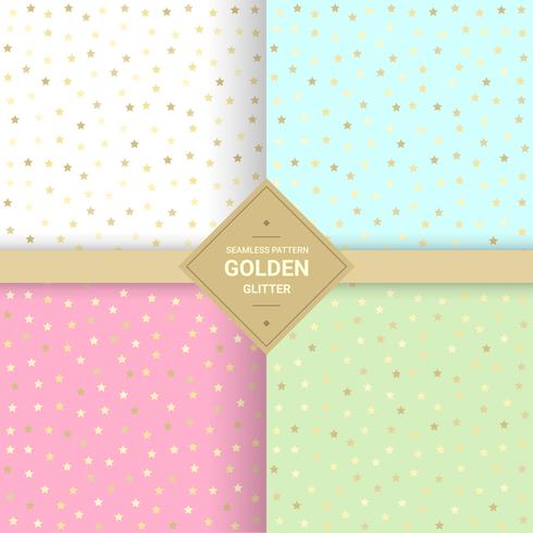 Golden star glitter seamless pattern on pastel background. Star background for Gift wrap and Fabric patterns. Vector Illustration