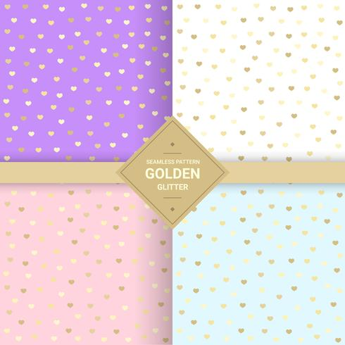 Golden heart glitter seamless pattern on pastel background. Heart background for Gift wrap and Fabric patterns. Vector Illustration