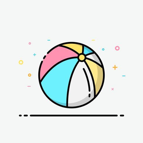 Wasserballikone bunt in gefüllter Entwurfsart für verziert in der Sommerplakat- und Social Media-Fahne.