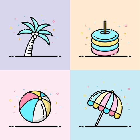 Sommer-Ikonensammlung in Pastellfarbe. Der Satz enthält Kokosnussbaum, Gummiring, Wasserball und Sonnenschirmstrand für Social Media-Banner, Sommerplakat und App-Ikonendesign.