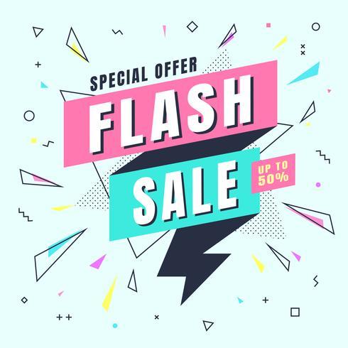 Flash Sale Banner Memphis-Stil mit geometrischen Formen. Verkaufshintergrundschablone erstellen durch Vektor.
