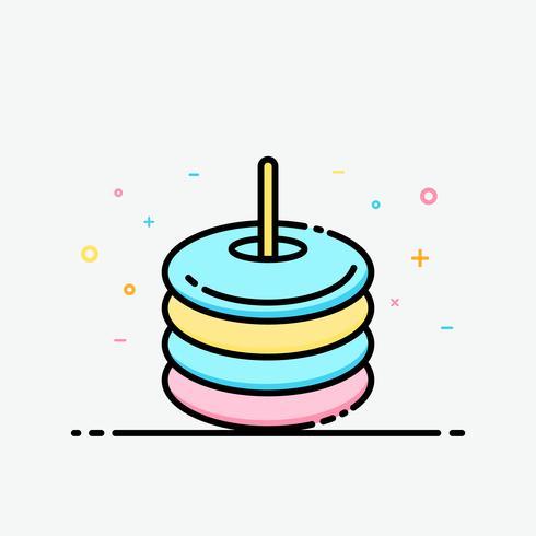 Icono de anillo de goma inflable colorido en estilo de contorno relleno para decorado en cartel de verano y banner de redes sociales.