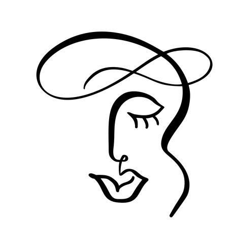 Línea continua, dibujo de rostro de mujer, concepto minimalista de moda. Cabeza femenina lineal estilizada con los ojos cerrados, logotipo de cuidado de la piel, ícono de salón de belleza. Ilustración vectorial una línea vector