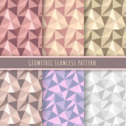 Colección de patrones geométricos sin fisuras. Conjunto de 6 triángulo vector de fondo polígono. Textura metálica de lujo para papel de regalo, papel pintado, papel de regalo y patrones de tela.