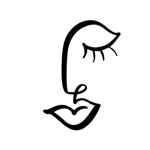 Linha contínua, desenho de rosto de mulher, moda conceito minimalista. Cabeça feminina linear estilizada com os olhos fechados, logotipo de cuidados da pele, ícone do salão de beleza. Ilustração vetorial
