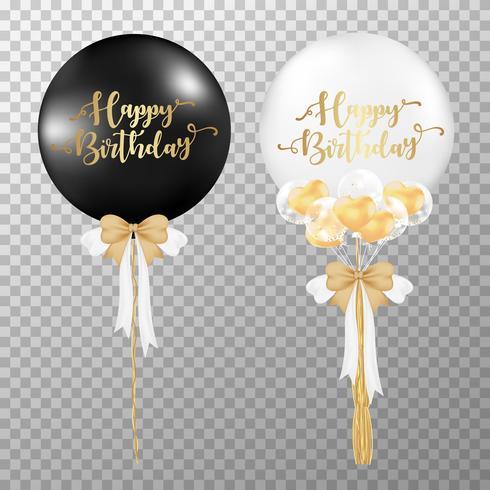 Palloncini di compleanno su sfondo trasparente. Illustrazione di vettore palloncino bianco e nero lucido realistico. Per le decorazioni modello di progettazione festa di compleanno.