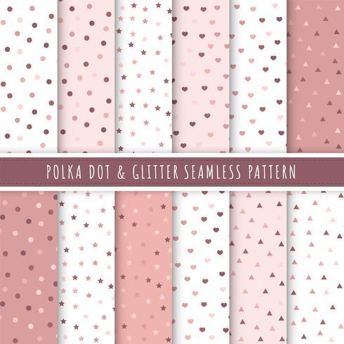Collection de transparente motif à pois et paillettes or rose. Ensemble de 12 texture de fond à pois. Paillettes d'or rose pour emballages cadeaux, papiers peints, papiers d'emballage et motifs de tissus.