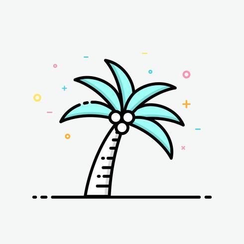 Kokos träd ikon i fylld kontur stil för dekorerad i sommaraffisch och sociala medier banner.