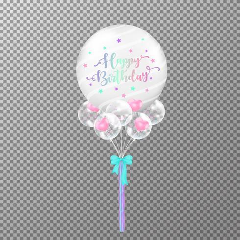 Aniversário de balões no fundo transparente. Ilustração colorida do vetor do balão transparente grande realístico. Para o modelo de design de festa de aniversário de decorações.