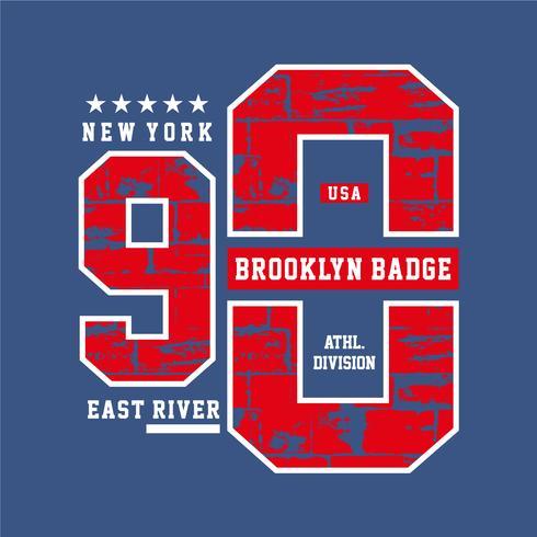 Varsity-Stil, New York Brooklyn Sportart Typografie für T-Shirt Druck