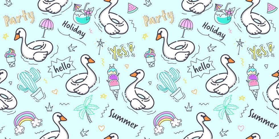 Patrón de cisne sin costura. Anillo de la piscina de la piscina del cisne del drenaje de la mano con el elemento del verano del garabato en el fondo azul para la impresión de la tela del niño, el libro de recuerdos, el papel de embalaje y el diseño de emp