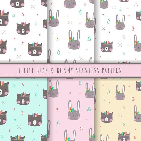 Kleine beer en bunny patroon naadloos. Set van 6 kawaii bunny en beer achtergrond vector. Tribal bear achtergronden. Pastel konijn textuur voor baby print, kid verpakking, digitale papier en weefsel patronen vector