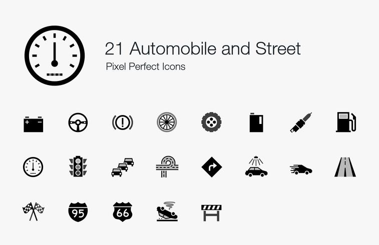 21 ícones perfeitos do automóvel e do pixel da rua.