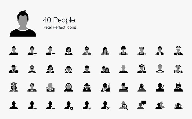 40 Pixel perfekte Icons für Menschen.