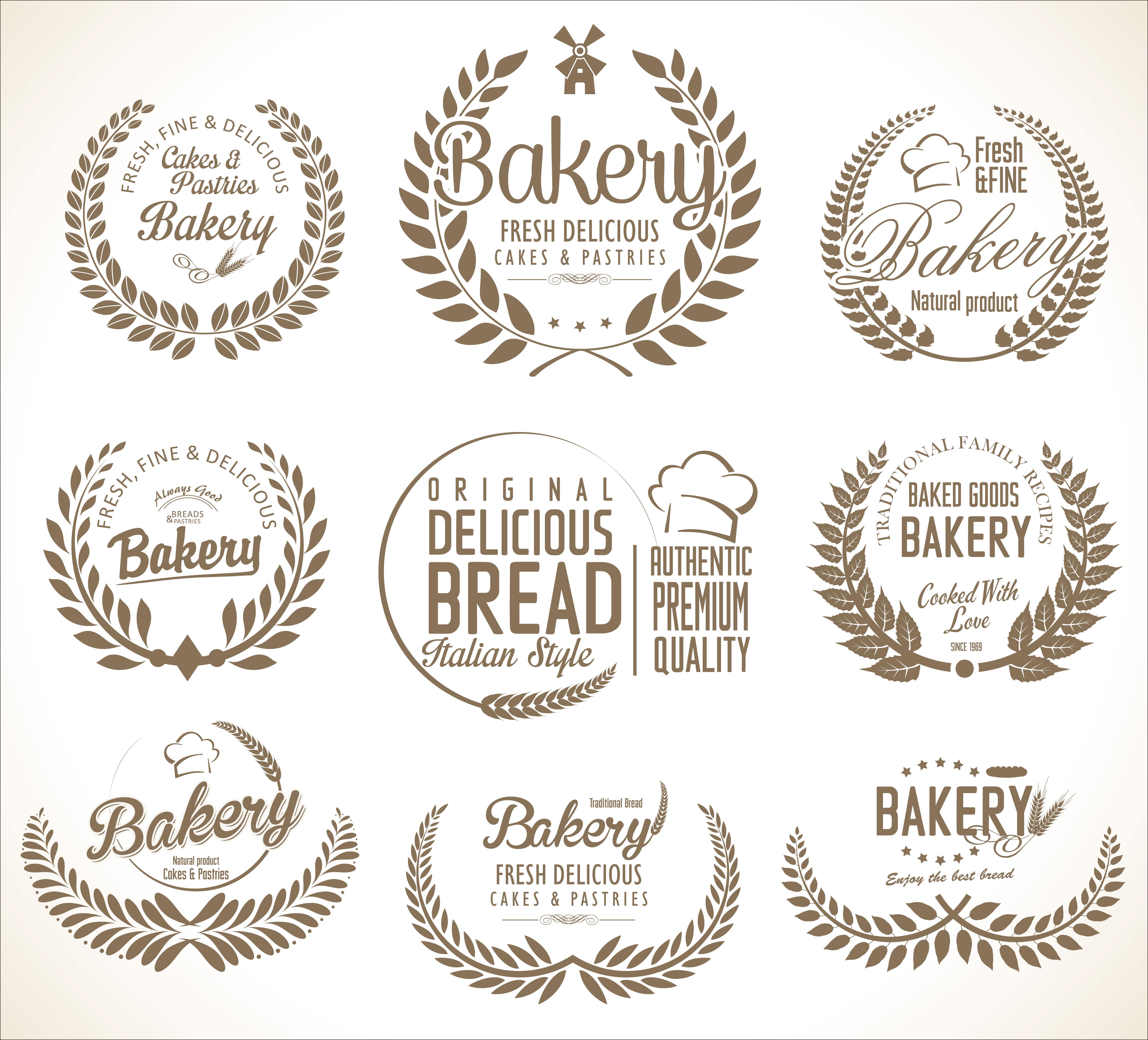 Bakery Logo Emblem Set:  Bakery Labels 502934 Vector Art At Vecteezy