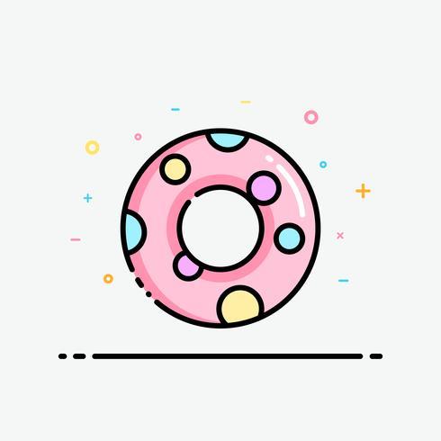 Ícone de anel de borracha rosa no estilo de contorno preenchido para decorado em cartaz de verão e banner de mídia social. Vetor de anel de nadada de pato amarelo.