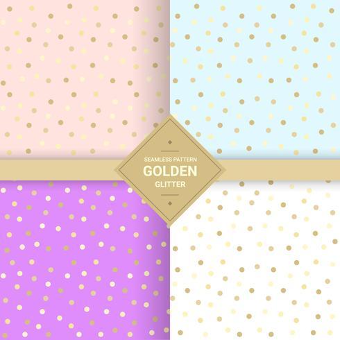 Gouden glitter naadloos patroon op pastel achtergrond. Memphis polka dot achtergrond 80's-90's stijl. Vector illustratie