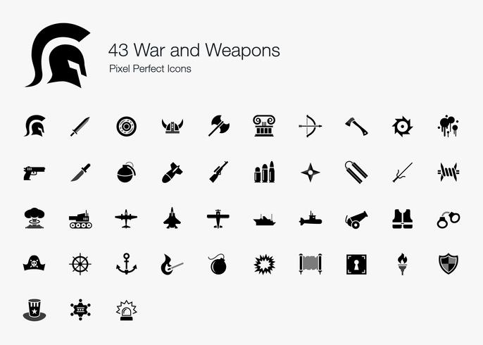 43 War and Weapons Pixel Perfect Icons.
