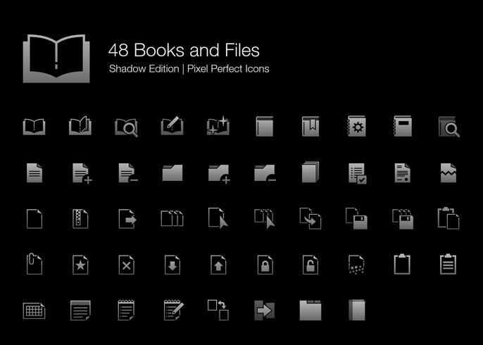 Boeken en bestanden Pixel Perfect Icons Shadow Edition. vector