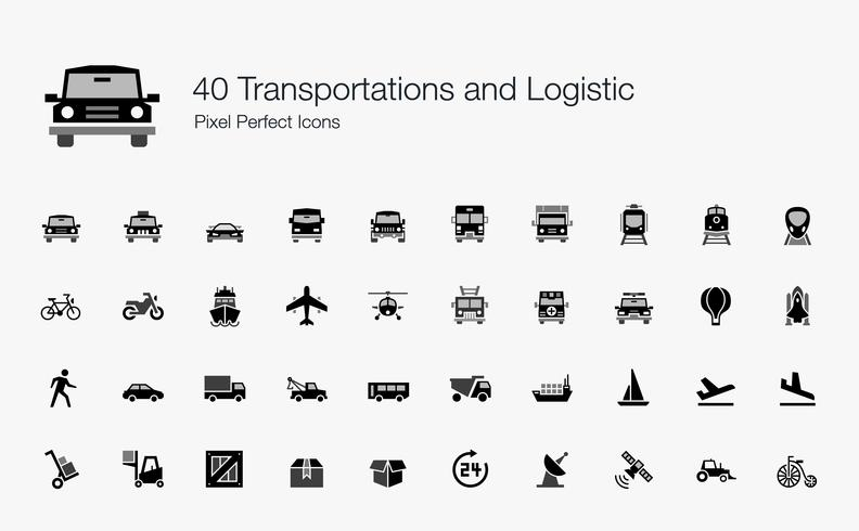 40 Transportes y Logística Pixel Perfect Icons.