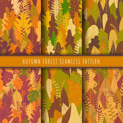 Autumn forest and nature seamless patterns collection. Fall patterns vector. Set of 6 autumn leaf background. Yellow wallpaper. Nature texture background repeat. Forest printable digital papers.