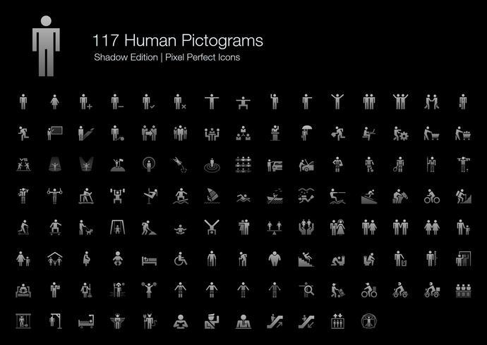 Edição perfeita da sombra dos ícones do pixel humano do pictograma. vetor