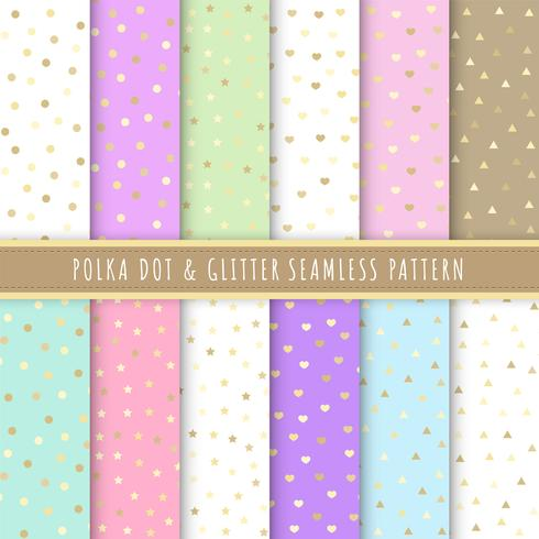 Polka dot and glitter seamless pattern collection. Set of 12 polka dot background colorful. Gold glitter. Pastel patterns vector for gift wrap, wallpaper, wrapping paper and fabric patterns.