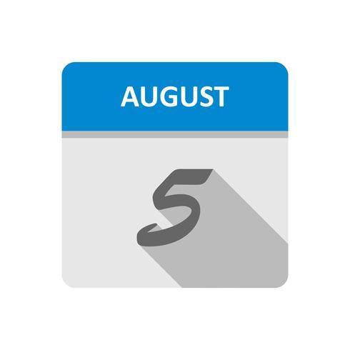 5 augusti Datum på en dagskalender