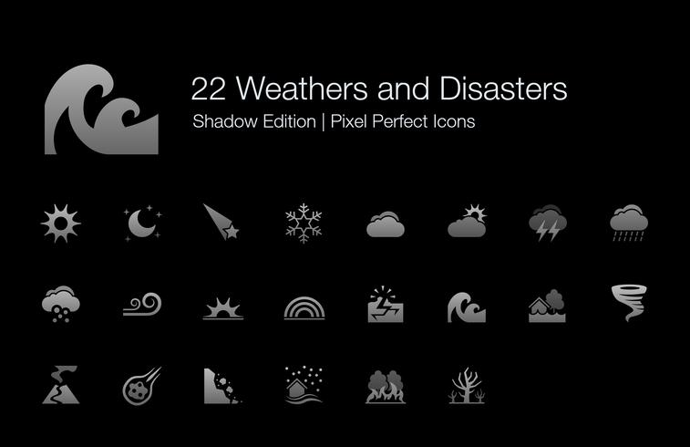 Weathers and Disasters Pixel Perfect ícones Shadow Edition. vetor