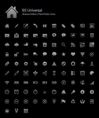 Universal Pixel Perfect Icons Édition Ombre. vecteur