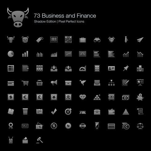 Geschäft und Finanzen Pixel Perfect Icons Shadow Edition. vektor