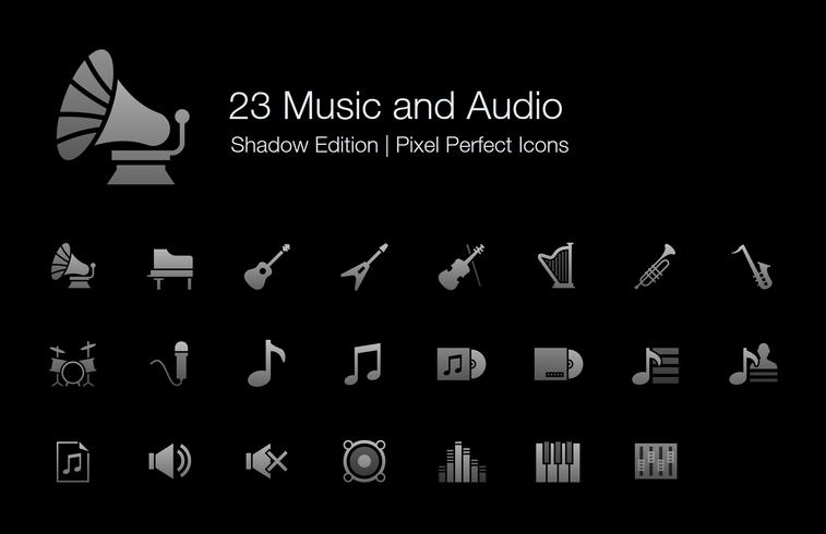 Music and Audio Pixel Perfect Icons Shadow Edition.
